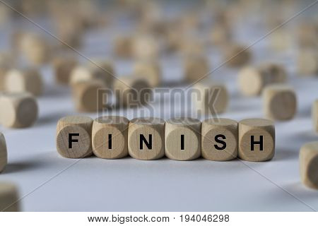 Finish - Cube With Letters, Sign With Wooden Cubes