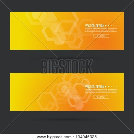 Abstract footer with transparent cubes, hexagons carcass. Techno design of future. technology, science, research. cyberspace cells. Digital Data Visualization. Futuristic vector header. Yellow, orange
