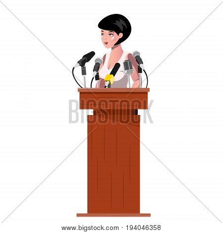 Woman standing behind rostrum and giving a speech. Vector flat style colorful illustration