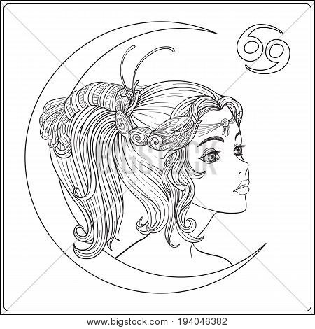 Cancer. A young beautiful girl In the form of one of the signs of the zodiac.  Outline hand drawing coloring page for adult coloring book. Stock line vector illustration.