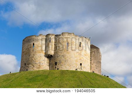 York England UK Clifford`s Tower tourist attraction 13th century medieval castle