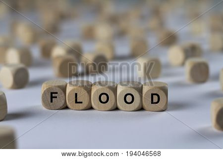 Flood - Cube With Letters, Sign With Wooden Cubes