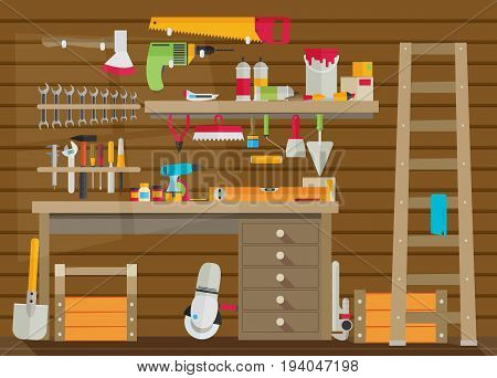 Workspace carpenter tools trendy flat icon on wood background