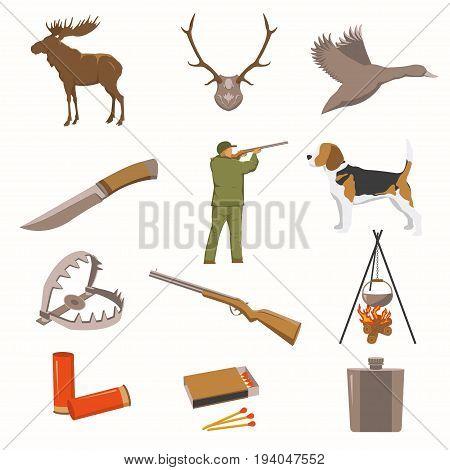 Hunting equipment kit hunting rifle, hunting knife, hunting hat, hunting suit, hunting shotgun, hunting boots, hunting decoy, hunting patronage, hunting matches, a hunting trap. Vector illustration