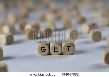 Get - Cube With Letters, Sign With Wooden Cubes