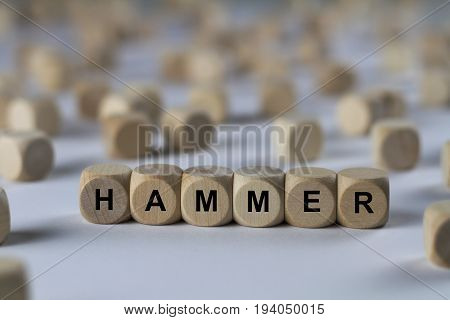 Hammer - Cube With Letters, Sign With Wooden Cubes