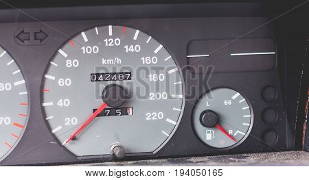 Old Car Dashboard Of The 90's With Speedometer, Tachometer...