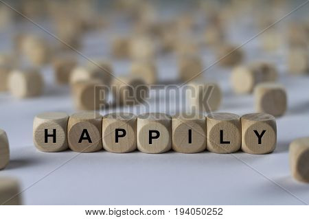 Happily - Cube With Letters, Sign With Wooden Cubes