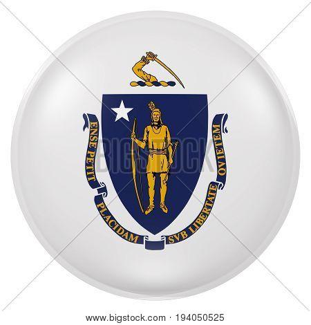Massachusetts State Flag Button