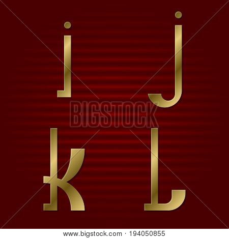Lowercase gold font. Isolated i, j, k, l golden letters.