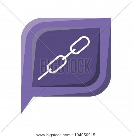 colorful silhouette dialogue square with tail with chain link symbol vector illustration