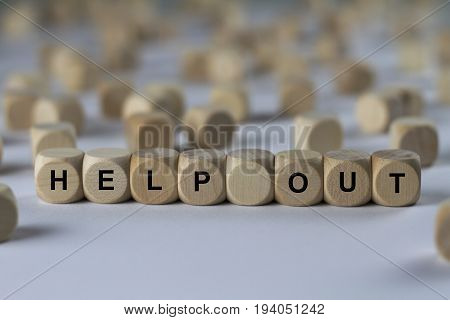 Help Out - Cube With Letters, Sign With Wooden Cubes