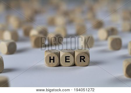 Her - Cube With Letters, Sign With Wooden Cubes