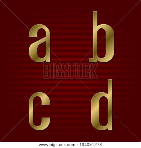 Lowercase gold font. Isolated a, b, c, d golden letters.