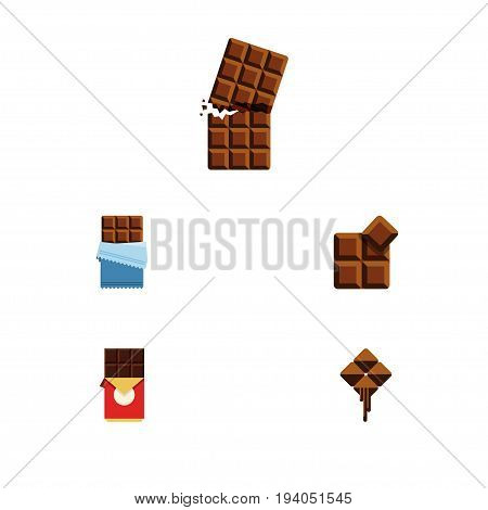 Flat Icon Chocolate Set Of Bitter, Chocolate Bar, Cocoa And Other Vector Objects. Also Includes Box, Cocoa, Bitter Elements.