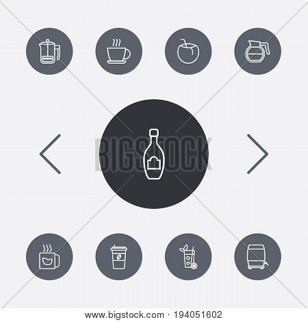 Set Of 9 Beverages Outline Icons Set.Collection Of French Press, Wine Cask, Coffeepot And Other Elements.
