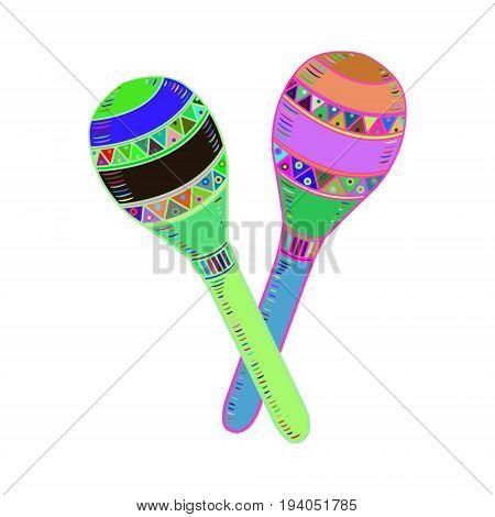 colorful hand drawn mexican maraca instrument icon
