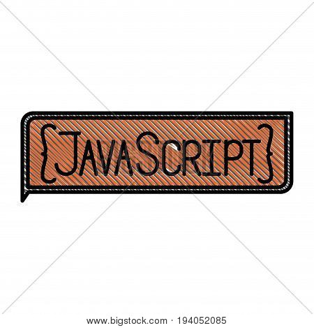 colored pencil silhouette of rectangle text Java script vector illustration