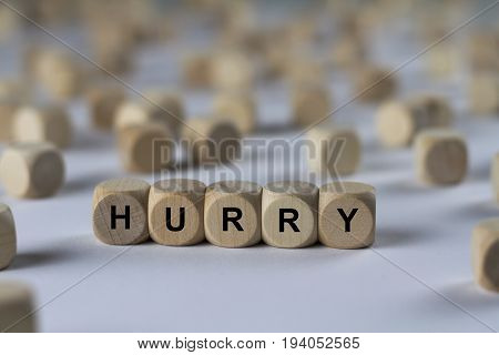Hurry - Cube With Letters, Sign With Wooden Cubes