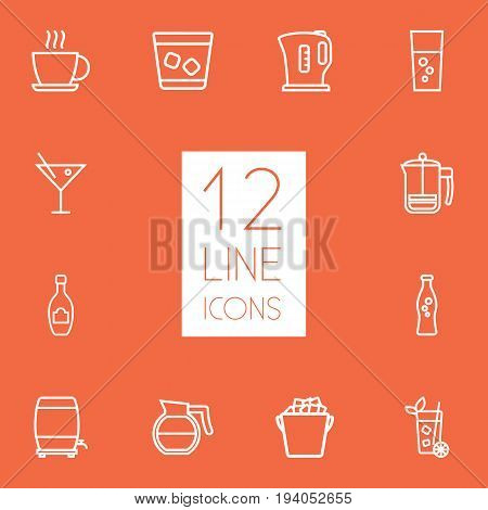 Set Of 12 Beverages Outline Icons Set.Collection Of Hot Drink, Coffeepot, Champagne And Other Elements.