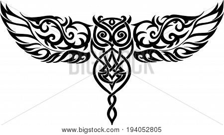 isolated celtic owl in flight vector illustration