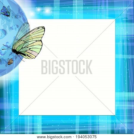 Photo frame summer. Vector illustration for your design. Blue sky and butterflies under the moon. Square sheet orientation