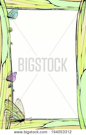 Photo frame summer. Vector illustration for your design. Elements of mosaic and butterfly. Vertical sheet orientation