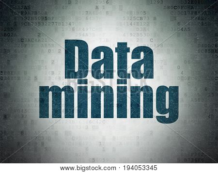 Data concept: Painted blue word Data Mining on Digital Data Paper background