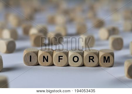 Inform - Cube With Letters, Sign With Wooden Cubes