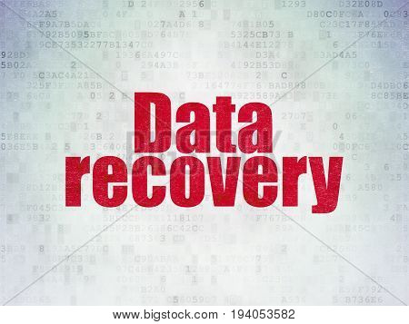 Information concept: Painted red word Data Recovery on Digital Data Paper background