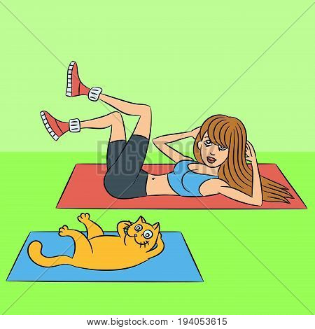 aerobics with the cat. exercises lying down. green background. vector illustration