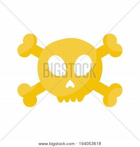Skull and crossbones vector flat icon Flat design of danger or poison sign Day of the Dead Dia de los Muertos or Halloween object isolated on the white background Jolly Roger vector illustration