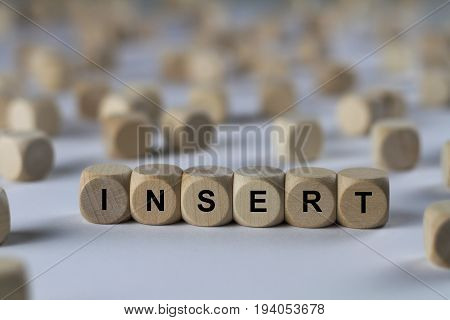 Insert - Cube With Letters, Sign With Wooden Cubes
