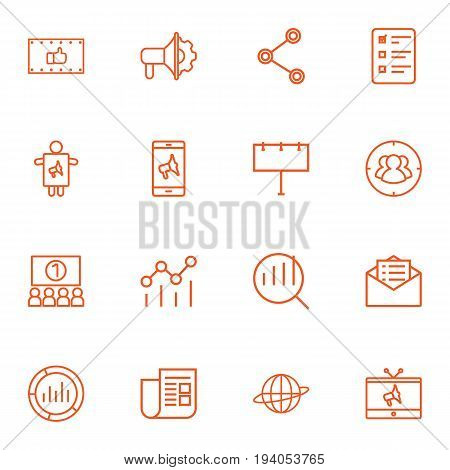 Set Of 16 Trade Outline Icons Set.Collection Of Social Media Ads, Audience, Mobile Marketing And Other Elements.
