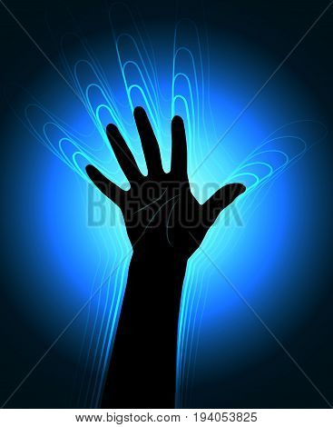 The contour of the human hand with the glowing waves leaving it
