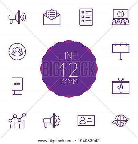 Set Of 12 Commercial Outline Icons Set.Collection Of Advertising Agency, Business Card, Billboard And Other Elements.