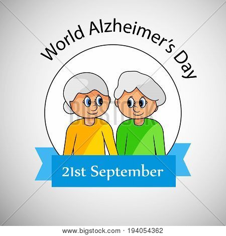 illustration of man and woman with World Alzheimer's Day 21st September text on the occasion of World Alzheimer's Day