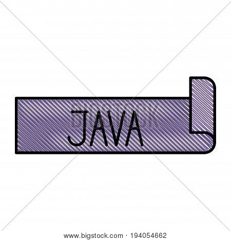 colored pencil silhouette label text of java vector illustration