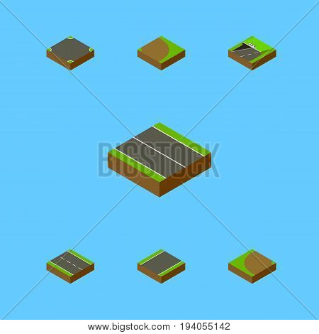 Isometric Way Set Of Crossroad, Rotation, Unilateral And Other Vector Objects. Also Includes Underground, Plane, Strip Elements.