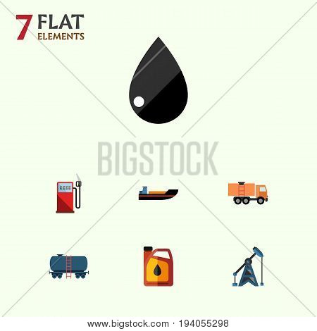Flat Icon Petrol Set Of Boat, Petrol, Container And Other Vector Objects. Also Includes Pump, Transport, Boat Elements.