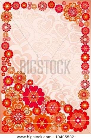 Background with flowers and hearts. Vector Illustration