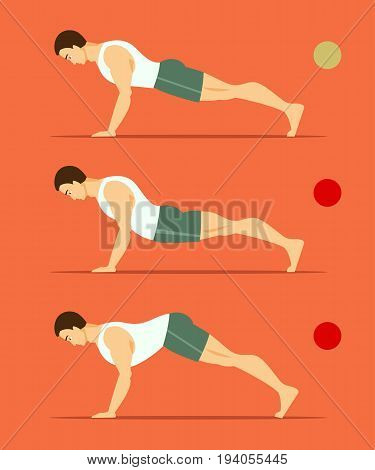 Athletic male in right and wrong plank. A healthy way of life. Vector illustration