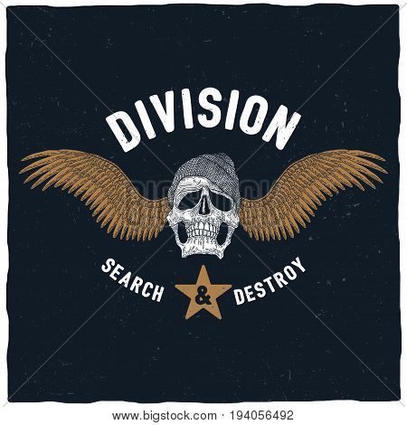 Division Search And Destroy Poster with skull in hat and wings vector illustration