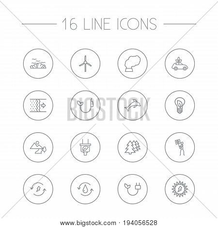 Set Of 16 Ecology Outline Icons Set.Collection Of Ecol, Afforestation, Renewable Energy And Other Elements.