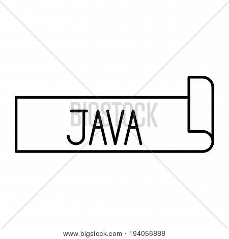 monochrome silhouette label text of java vector illustration