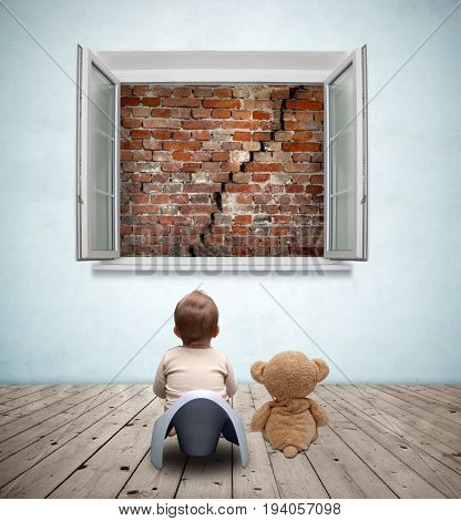 baby on the potty and teddy bear looking out the window