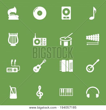 Set Of 16 Melody Icons Set.Collection Of Lyre, Quaver, Percussion And Other Elements.