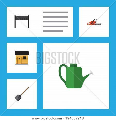 Flat Icon Garden Set Of Hacksaw, Shovel, Bailer And Other Vector Objects. Also Includes Barn, Can Bailer, Shovel Elements.
