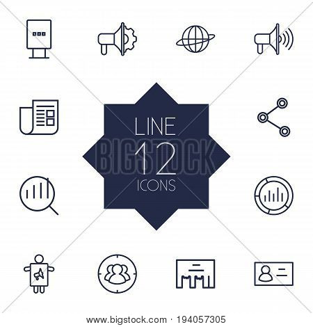 Set Of 12 Advertising Outline Icons Set.Collection Of Business Card, Direct Message, Social Media Ads And Other Elements.