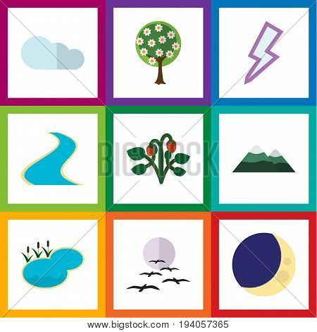 Flat Icon Ecology Set Of Peak, Tributary, Lightning And Other Vector Objects. Also Includes Bird, Pinnacle, Berry Elements.